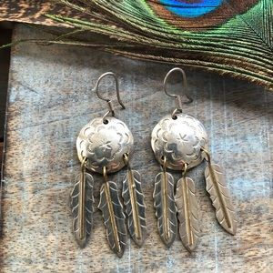 Sterling and brass feather earrings